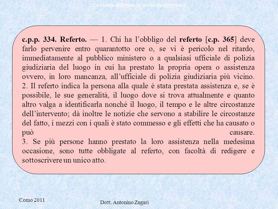 c. p. p. 334. Referto. — 1. Chi ha l'obbligo del referto [c. p